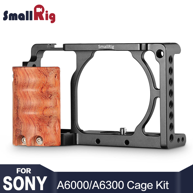 SmallRig Camera Cage Kit for Sony A6300 / A6000 / ILCE-6000 / ILCE-6300 Cage With Wooden Handle Dual Camera Rig  - 2082 smallrig camera cage top handle kit for sony a6300 a6000 a6500 ilce 6000 ilce 6300 ilce 6500 nex7 cage rig 1921