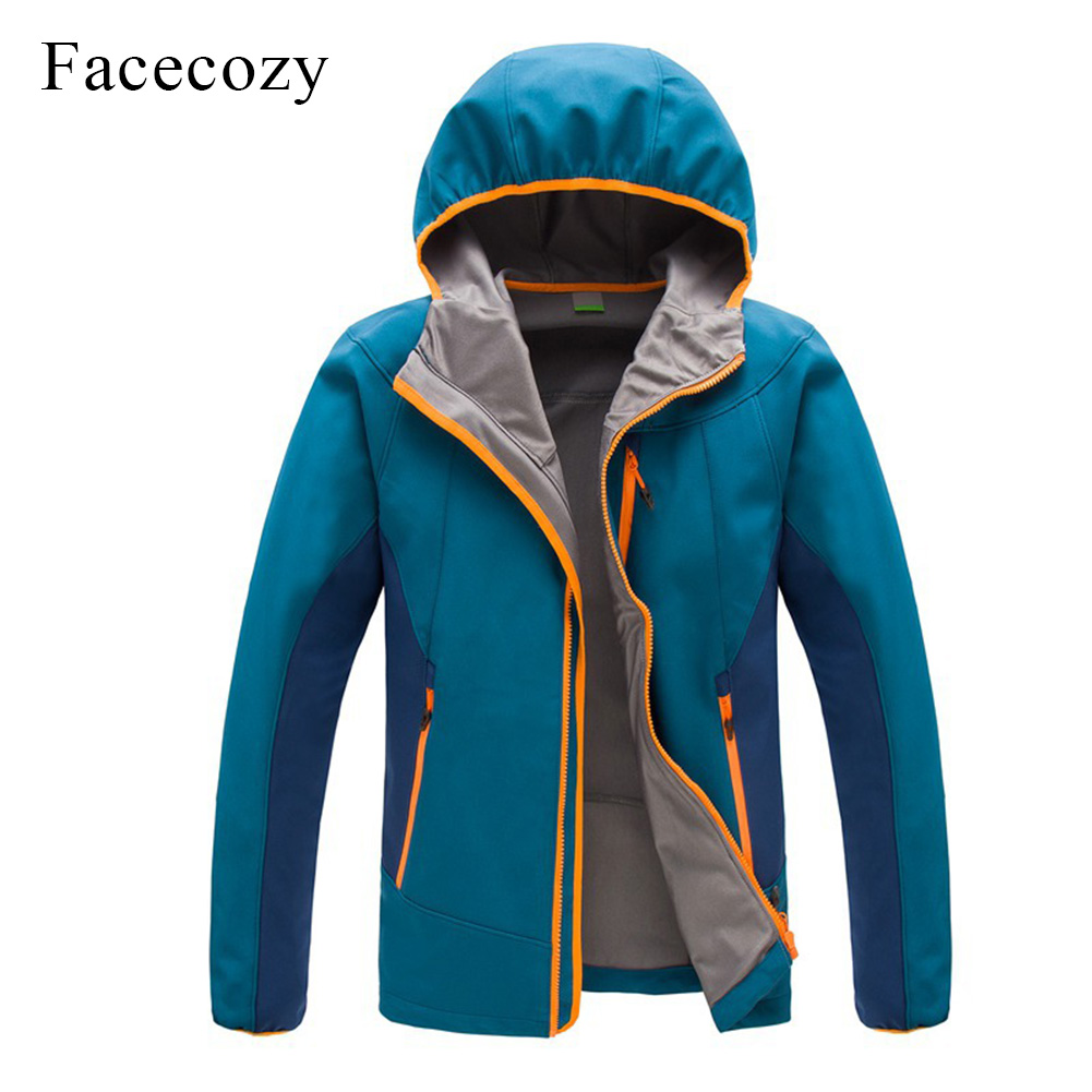 Facecozy Men s Outdoor Autumn Breathable Patchwork Hiking Softshell Jacket Hooded Thermal Fishing Coat