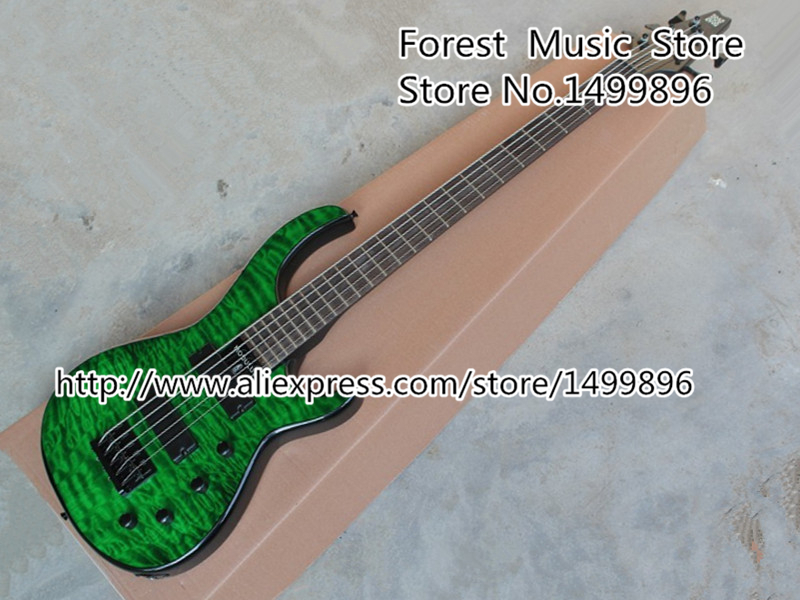 Custom Shop Emerald Green Quilted Body Modulus Bass Quantum 5 String Electric Bass Guitar China Left Handed Available custom shop china lp electric guitar in desert burst color quilted top guitar body lefty custom available