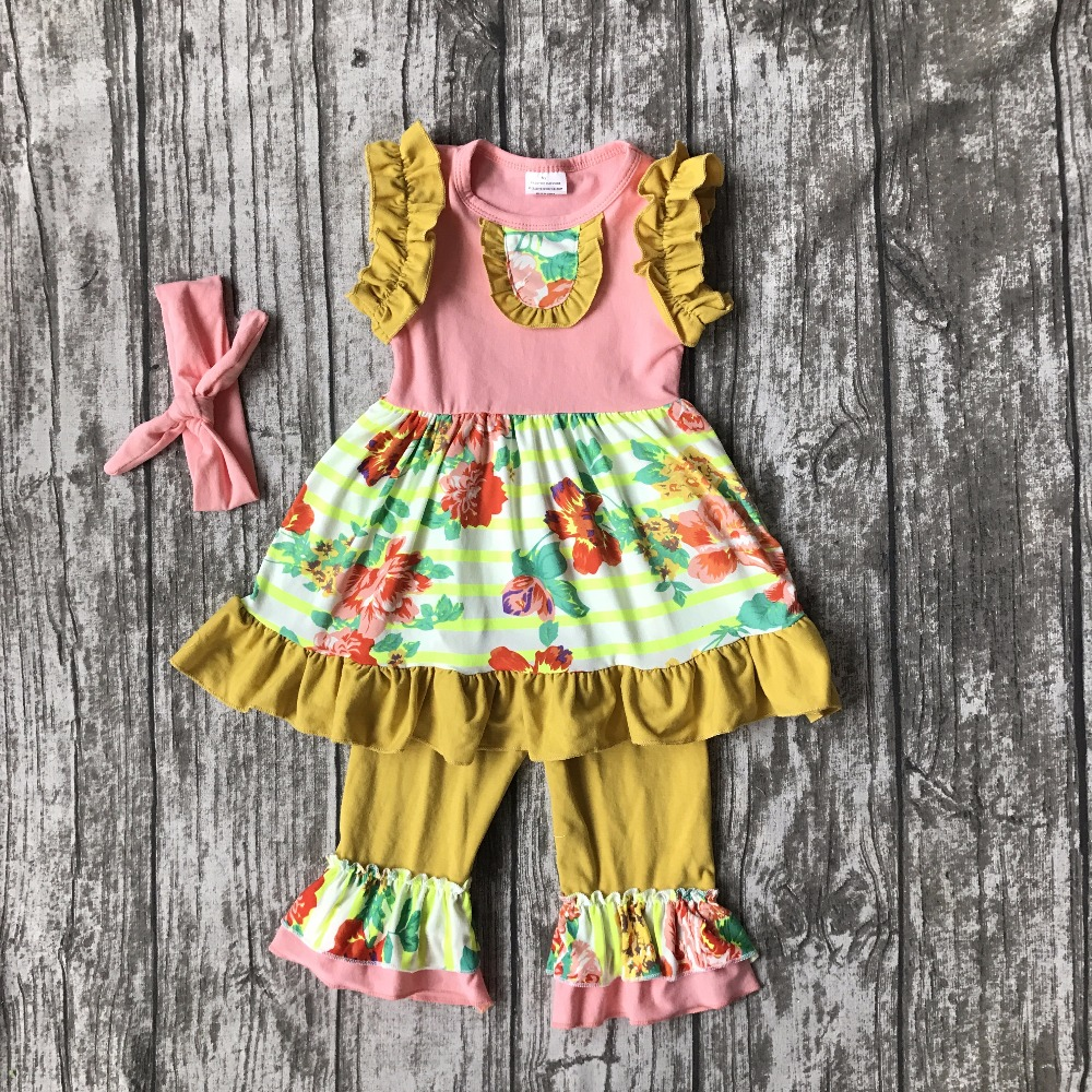 new arrival girls Summer outfit baby floral clothes cotton