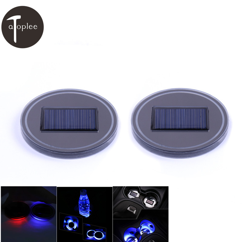 1Pair Solar Energy Mat Holder Pad Bottom Blue/Red LED Light 67x7mm Car Interior Decoration Light Cup Coaster Mat Non Slip Pad car pad for honda civic 1 8l 2 0l pad mat cup pad 16 modified leather latex