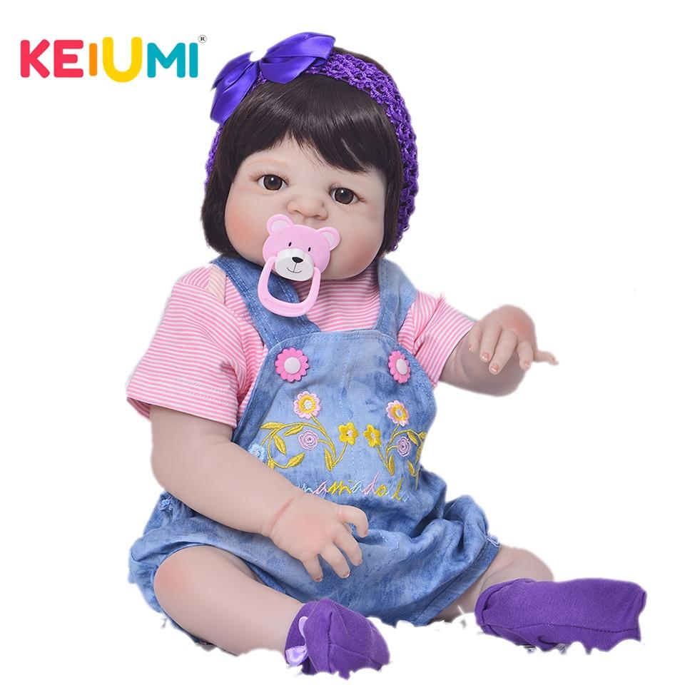 Realistico 23 pollice Silicone Pieno Bambole Del Bambino Rinato Bambole Della Ragazza per la Vendita di Simulazione Etnico Reborn Bambini con Vestiti per le Bambole Regali Di Compleanno