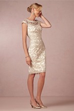 Real photo New Sheath/Column Champagne Mother of the Bride Dresses 2016 Scoop Sleeveless Knee-length Prom Gown With Lace