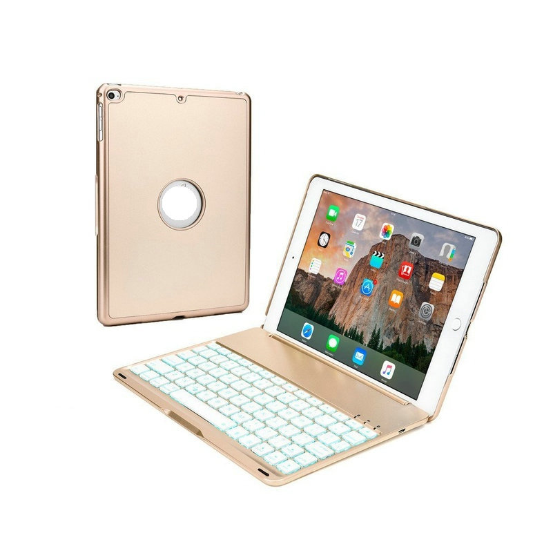 ФОТО Wireless Bluetooth Keyboard For iPad Pro 9.7 Case with Keyboard Aluminium Smart Backlit Keyboard Cover Stand 7 Colors Backlight