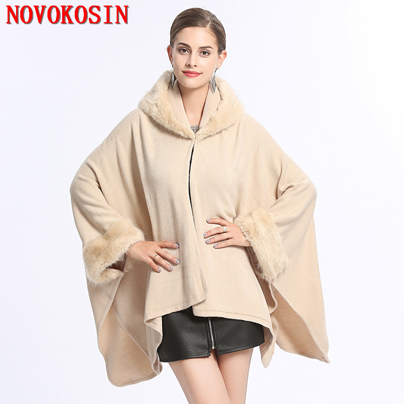 2018 Fashion Women Winter Capes Faux Fur Collar Knitted Open Stitch Poncho Long Sleeve Cardigan Thick Warm Cloak Coat With Hat