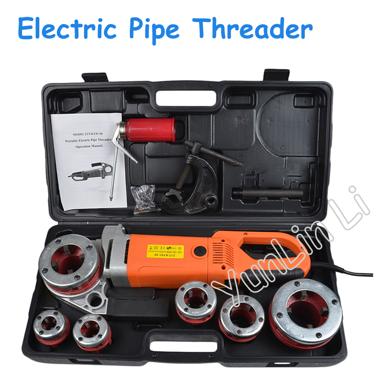 Electric Pipe Threader Portable Electric Sleeve Machine 220V Galvanized Pipe Sleeve Machine Electric Pipe Threader 4pcs set invisible clear automobiles door handle protective sticker adhesive car door handle paint scratch protection film new