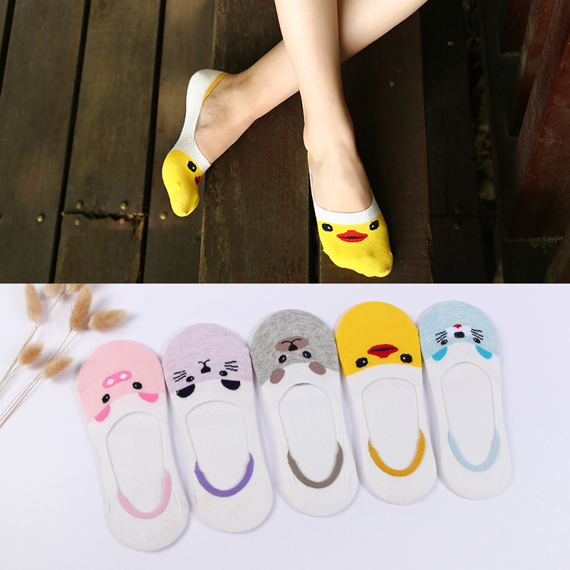 5pairs/lot Cute Women Slippers Aninals Pattern Invisible No Show Nonslip Liner Low Cut Cotton Boat Socks 5 Colors Silicone Sock