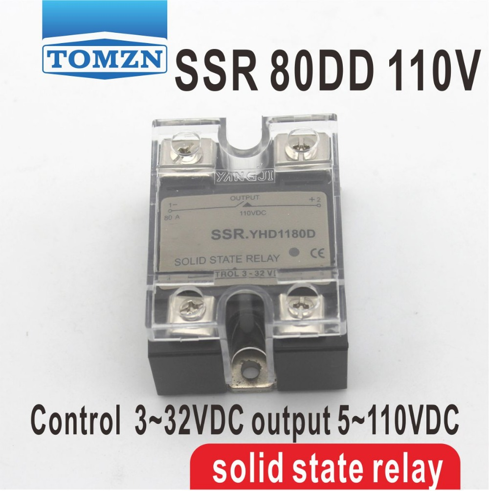 80DD SSR Control voltage 3~32VDC output 5~110VDC DC single phase DC solid state relay 20dd ssr control 3 32vdc output 5 220vdc single phase dc solid state relay 20a yhd2220d