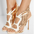 Women Shoes Peep Toe High Heels Sandals 2015 Sexy Open Genuine Leather Belt Buckle Stiletto Plus Size Pumps Prom Goddess Show