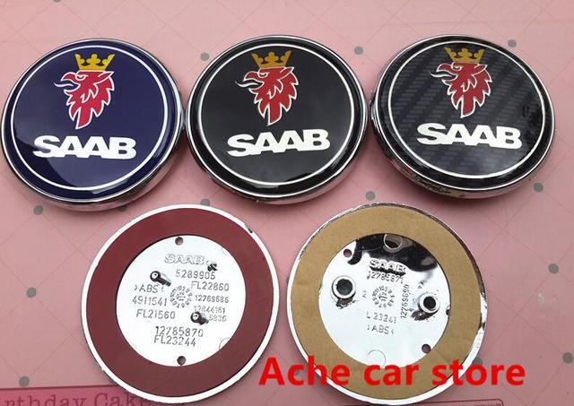 2pcs Free Shipping 68mm Saab Car Front Hood Bonnet Emblem Rear Badge