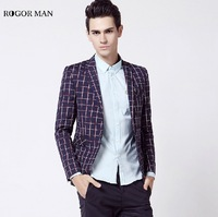 ROGORMAN High Quality 2015 Men Cotton England Style Blue Plaid Super Slim Wedding Party Business Casual
