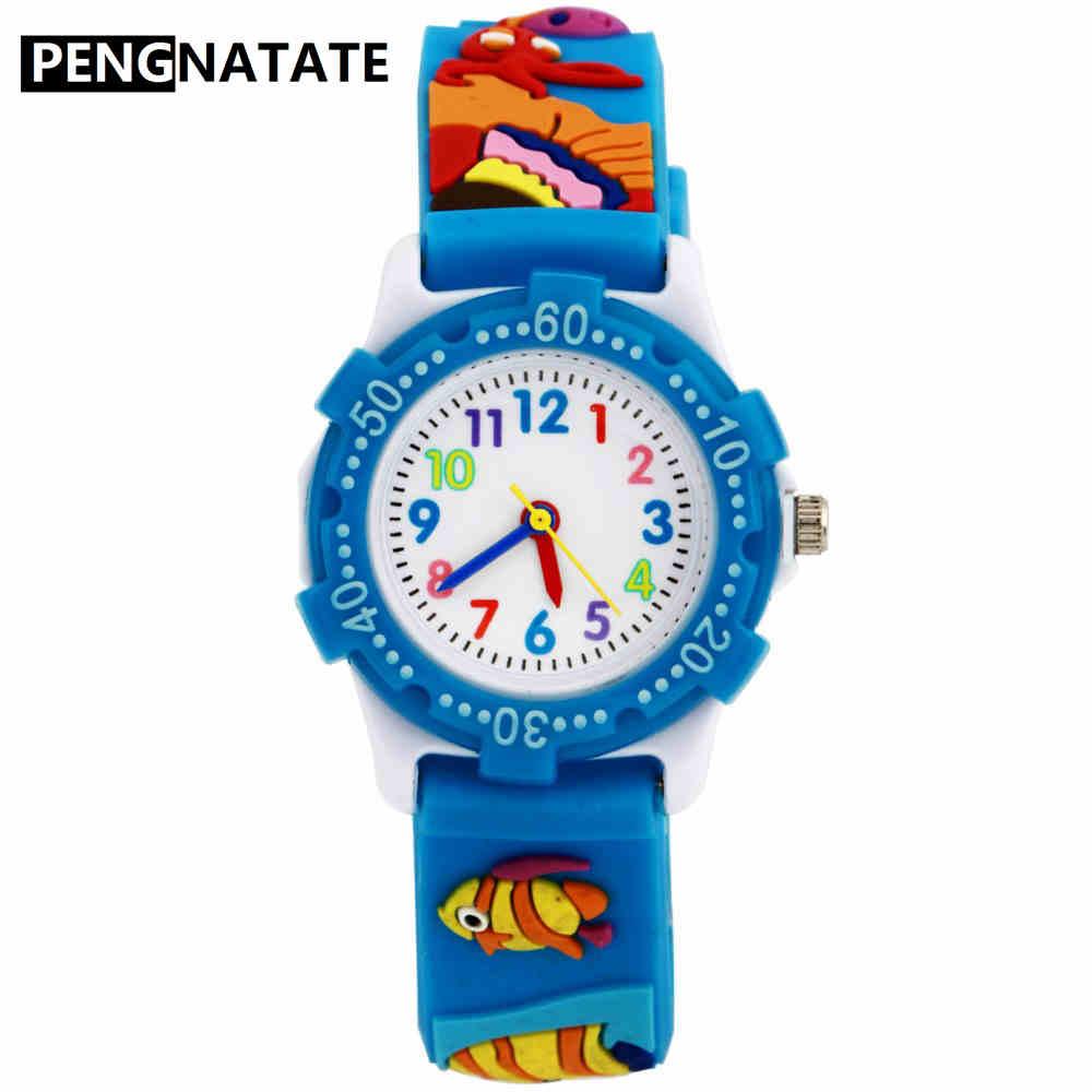 PENGNATATE Children Watches Blue Strap Cartoon Silicone 3D Fish Bracelet Quartz Wristwatch Fashion Kids Watch For Boy Girls Gift