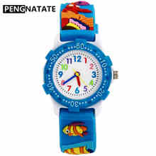 PENGNATATE Children Watches Blue Strap Cartoon Silicone 3D Fish Bracelet Quartz