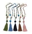 2016 nueva moda Pompones colgantes collar Rosa de Algodón de La Borla Collar largo Boho multicolor Collar de los granos