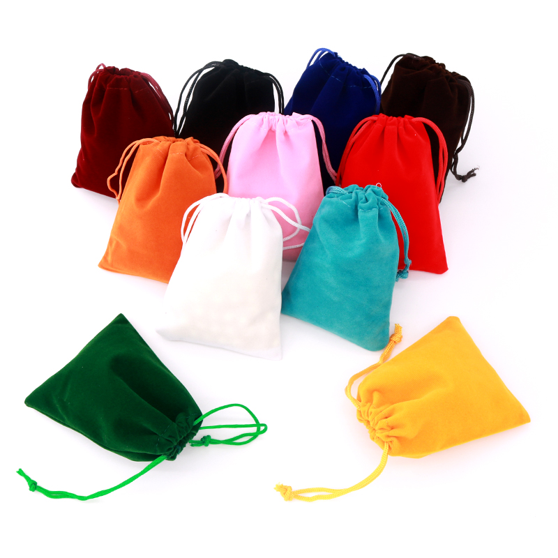 5x7cm White Beige Small Velvet Bags Pouches Drawstrings Soft Small Jewelry Ring Gift Packing Bags 10pcs