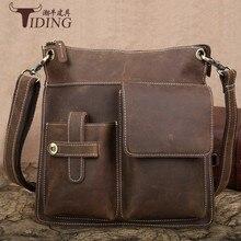 Купить с кэшбэком Men Cowhide  Leather Brand Crossbody Messenger Shoulder Travel Bags 2018 Man Genuine Leather Vintage Luxury Bag dropshipping