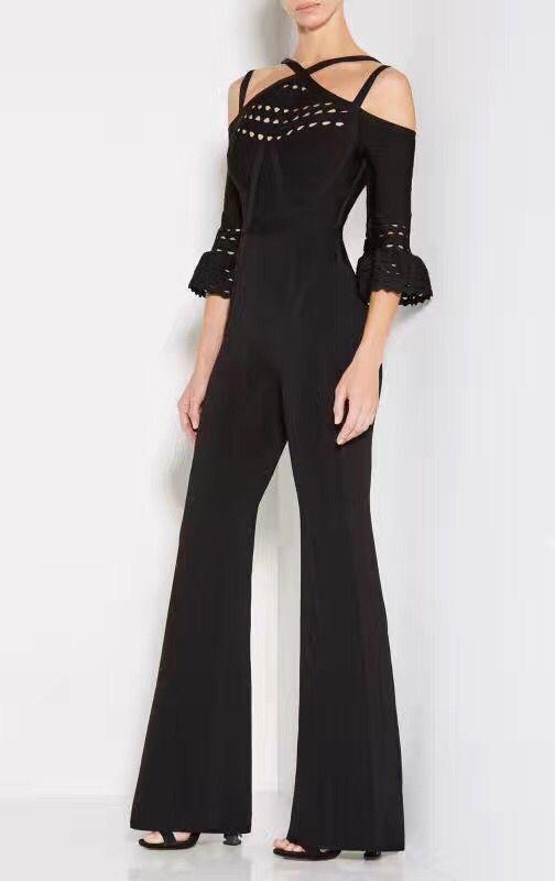 Top Quality Black Blue Color Ladies HL Bandage Jumpsuits Half Sleeve Elegant Evening Party Jumpsuits