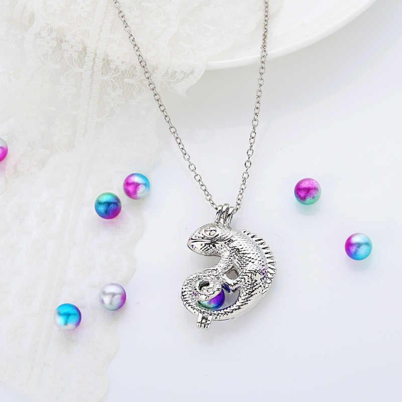 Hagedis Diy Ketting Oester Parel Kooi Hanger Zilveren Ketting Mooie Lady Charm Verrassing Festival Gift