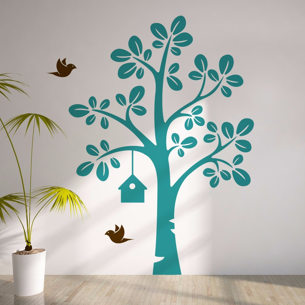 LargeTree With Flying Birds Vinyl Wall Decal - Kids Nursery Tree Sticker Baby Bedroom Art Decor Creative Y-937