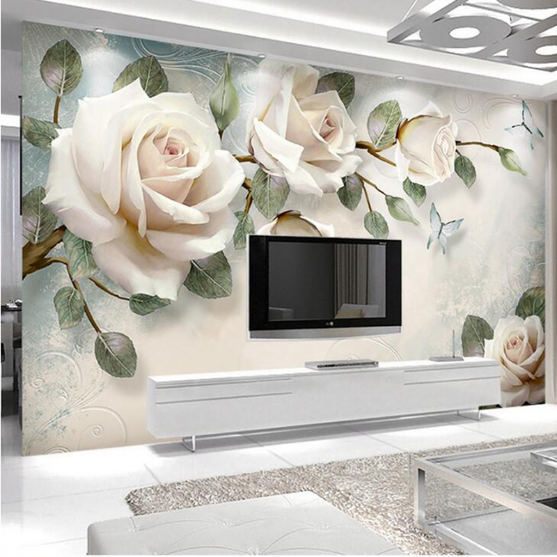 3D Custom Modern Photo Wallpaper Mural Painting White Rose Flowers For Living Room Bedroom TV Background Floral Home Decor Paper custom 3d photo wallpaper cave nature landscape tv background wall mural wallpaper for living room bedroom backdrop art decor