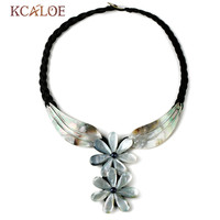 KCALOE Collar Natural Shell Flowers Pendant Necklace For Women Black Weave Rope Bohemian Beach Chokers Necklaces