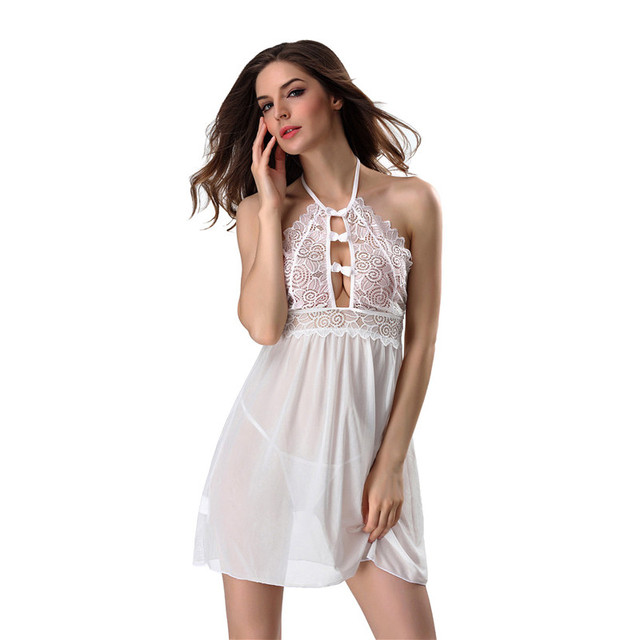 Vintage Nightgowns Women Nightwear Night Dress   G-string Female Sleeveless  Lace Nighty Sexy Sleepwear f77f378f3