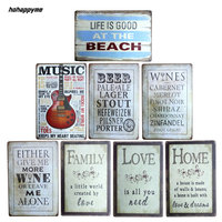 2016 New Arrival LOVE Guitar Tin Plate Signs Movie Poster Art Cafe Bar Vintage Metal Painting