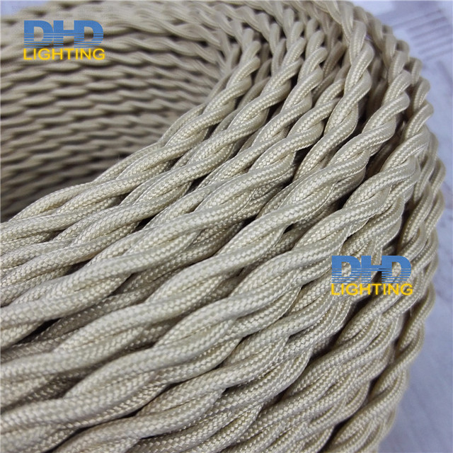 free shipping 20m 2 core 0.75mm twisted braided fabric electrical ...