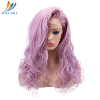 Sevengirls Brazilian Long Wave Ombre Transparent Lace Wig Natural Highlight Pink/Purple Full Lace Human Hair wig With Baby Hair
