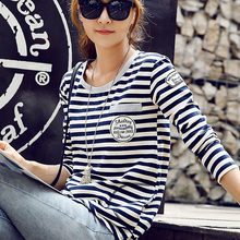 plus big size tops blusas feminina 2016 korean fashion women spring autumn long sleeve T-shirt loose stripe tshirts female A1105
