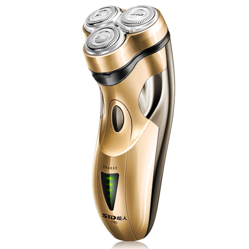 Charming golden electric font b shaver b font 3 floating head whole body washable rechargeable beard
