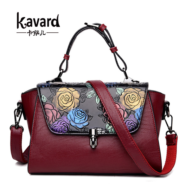 Luxury Handbags Women Bags Designer Retro Embossed Hand Painted Leather Bag Brand Las Sac