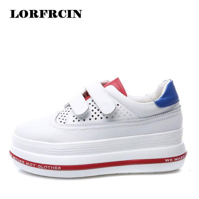 1bd11c64c0ce LORFRCIN Platform Shoes Woman Fashion Hollow Breathable Women Shoes Genuine  Leather Ladies Shoes Height Increasing Women Pumps