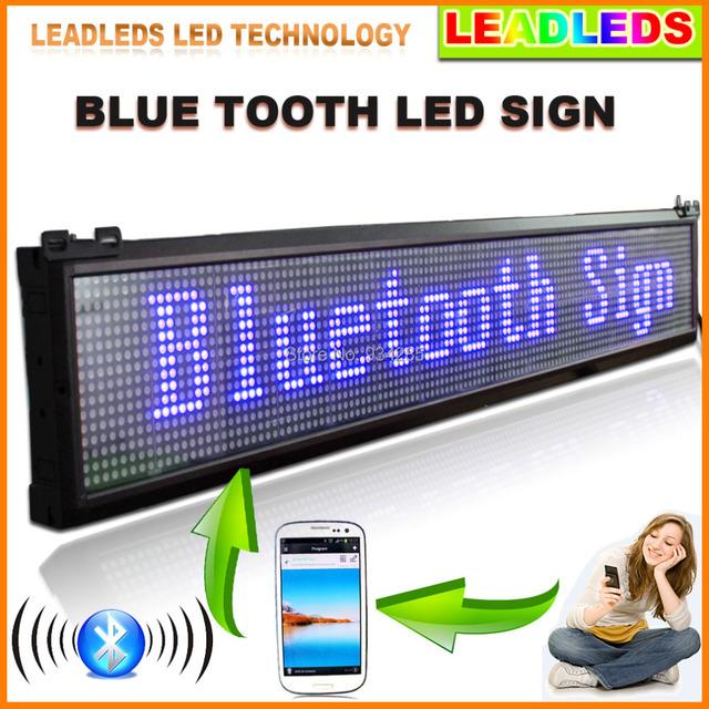 """Leadleds 40 """"x 6.3"""" Mobile APP Bluetooth Programável LEVOU a Rolagem Placa do Sinal de Mensagem de Cor AZUL"""