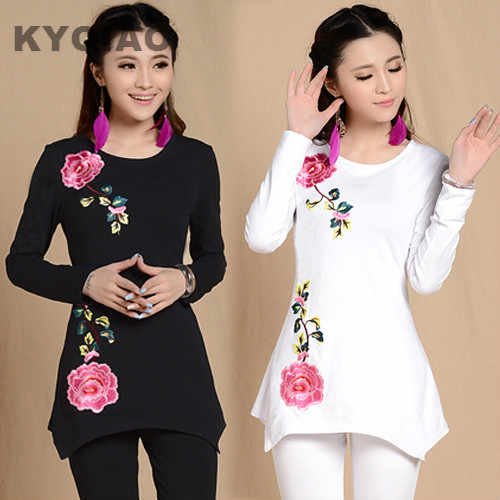 KYQIAO 3XL 2XL XL L M size original long sleeve black white shirt ethnic design flower embroider shirt vintage asymmetrical top