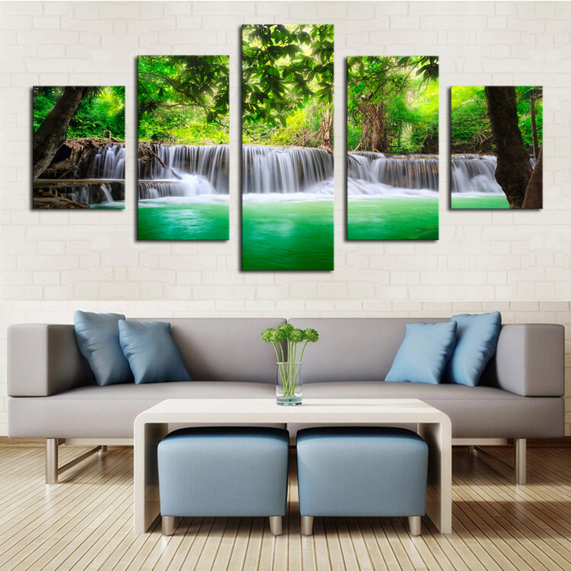 Unframed 5 panels green waterfall scenery canvas print painting modern canvas wall art for wall pcture home decor artwork in painting calligraphy from