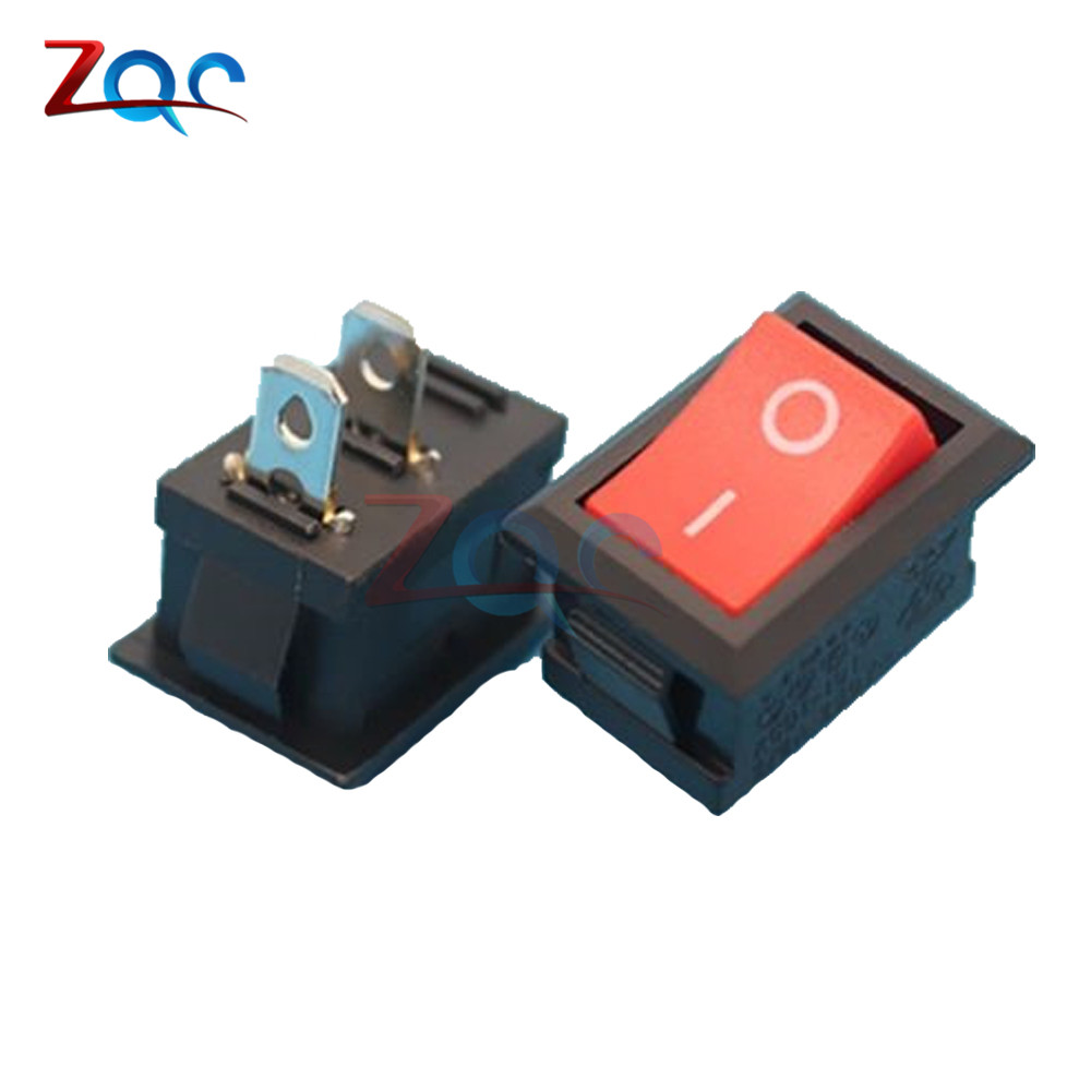 5pcs KCD1-101 AC 6A 250V 2 Pin ON/OFF I/O SPST Snap in Mini Red Button Boat Rocker Switch 15*21MM 2pcs lot red 4 pin light on off boat button switch 250v 16a ac amp 125v 20a