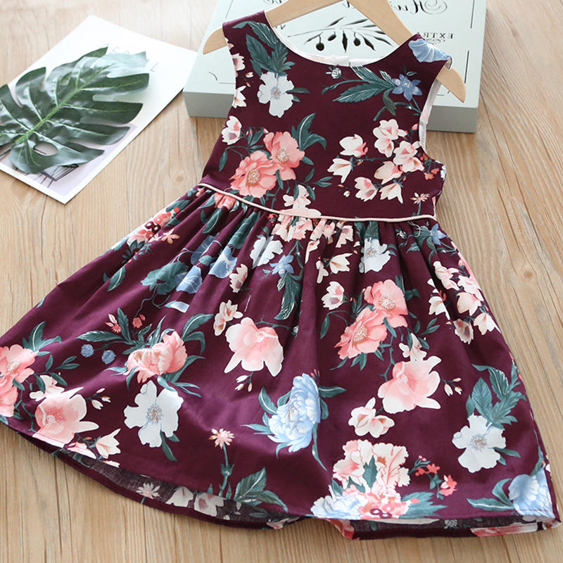 Summer Wine Red Flower Girl All Match Vest Dress Kids Flower Printing Fashion Dresses Kids Frocks