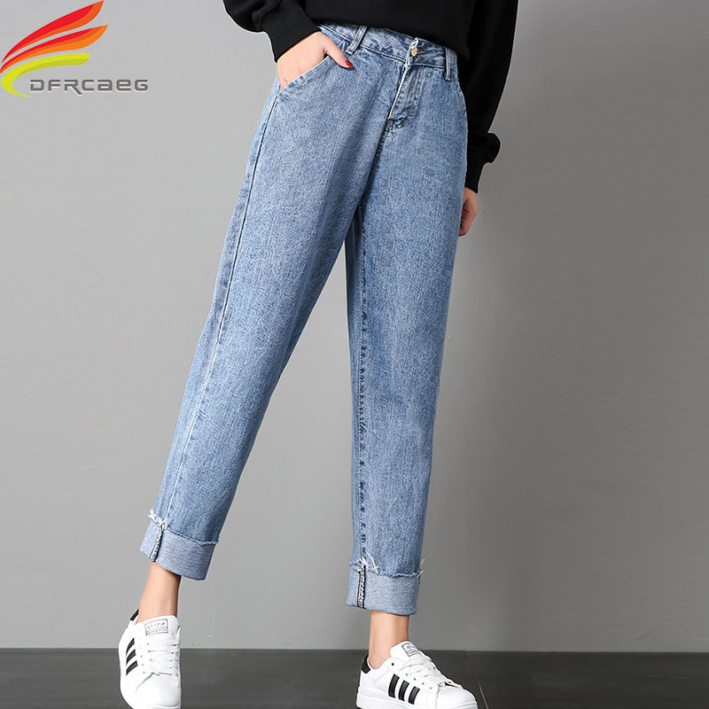 Boyfriend   Jeans   For Women Blue High Waist   Jeans   Woman 2019 New High Quality Stretch   Jeans   Female Washed Denim   Jeans   Womens