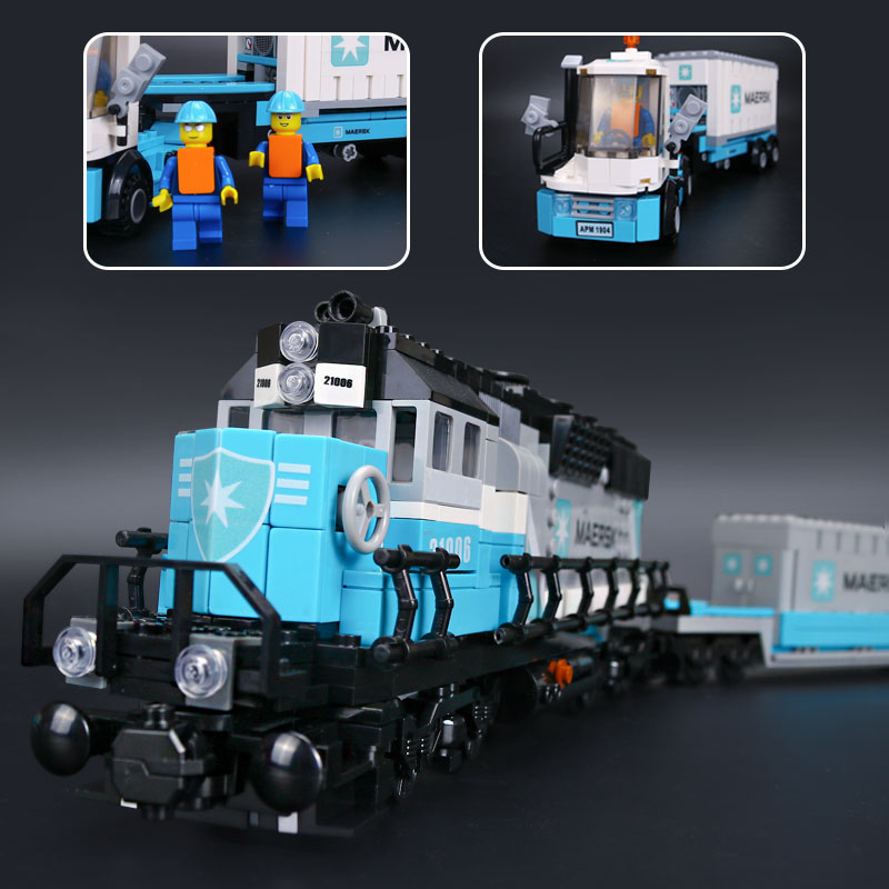 <font><b>21006</b></font> The Train Model Building Blocks set Compatible with 10219 DIY Toys for children christmas gifts image