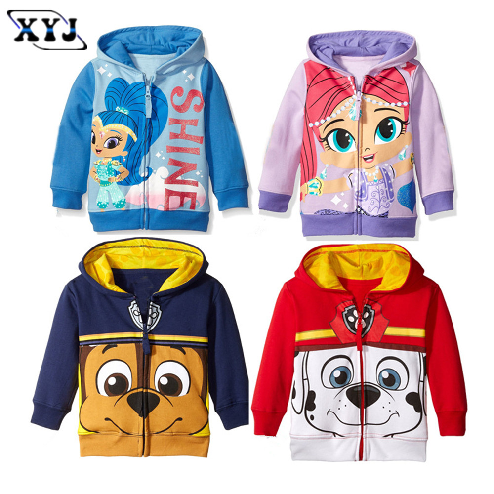2016 Autumn Baby Jackets Girls Hoodies Cute Printing Outwear Shimmer  Children's Clothing For Girls Sport Outwear