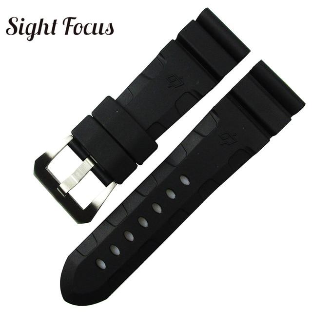 24mm 26mm Lightning Watch Bands for Panerai PAM Luminor Rubber Strap Pre-V Tang buckle Wrist Watch Bracelet Sport Band Orologio | Watchbands