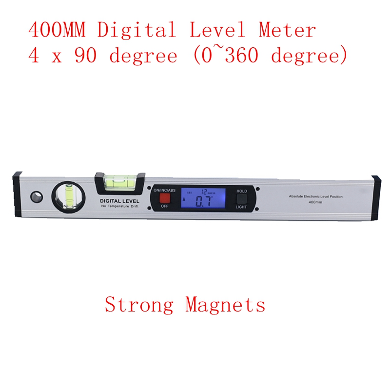 400mm Digital Angle Finder Level 360 Degree Range Spirit Level Upright Inclinometer with Magnets Protractor Ruler Blue Backlight 400mm 16in backlight lcd digital protractor spirit level angle meter inclinometer angle finder measuring tool