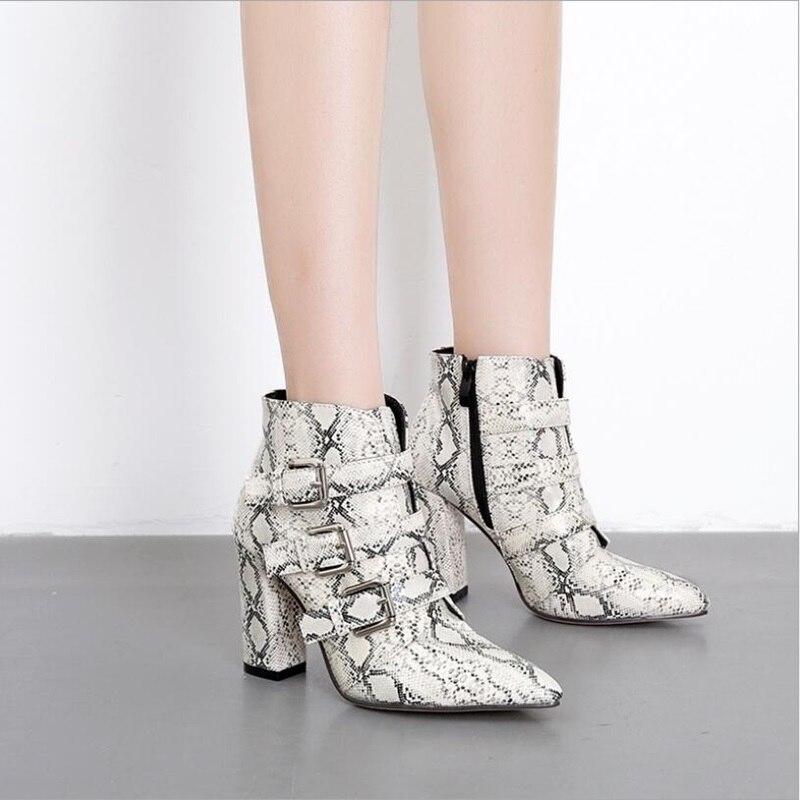 9467f0617b59 Pointu Ceinture Boot Peau Boucle Bout Carré Léopard Femmes Chaussures Talon  D hiver Chevalerie Bottes snakeskin En Serpent De Cheville Leopard 0xZpOw