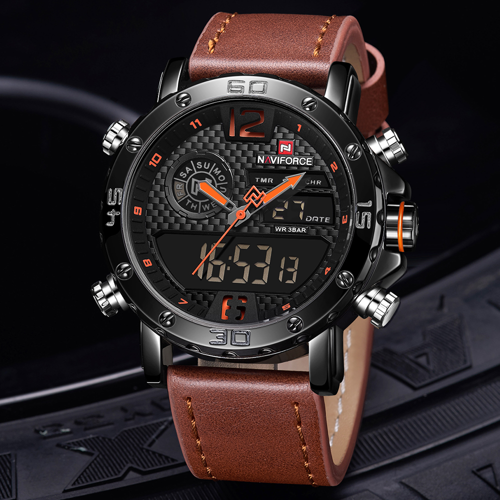 Luxury Mens Watches Top Brand NAVIFORCE Leather Sports Watch Men Quartz LED Digital Clock Male Waterproof Military Wrist Watch mens watches top brand luxury men military watches led digital analog quartz watch sports wrist watch waterproof relogio clock