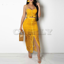 CUERLY Split hollow out sexy maxi dress Women ruffle floral lace blue Elegant summer beach bodycon long party club