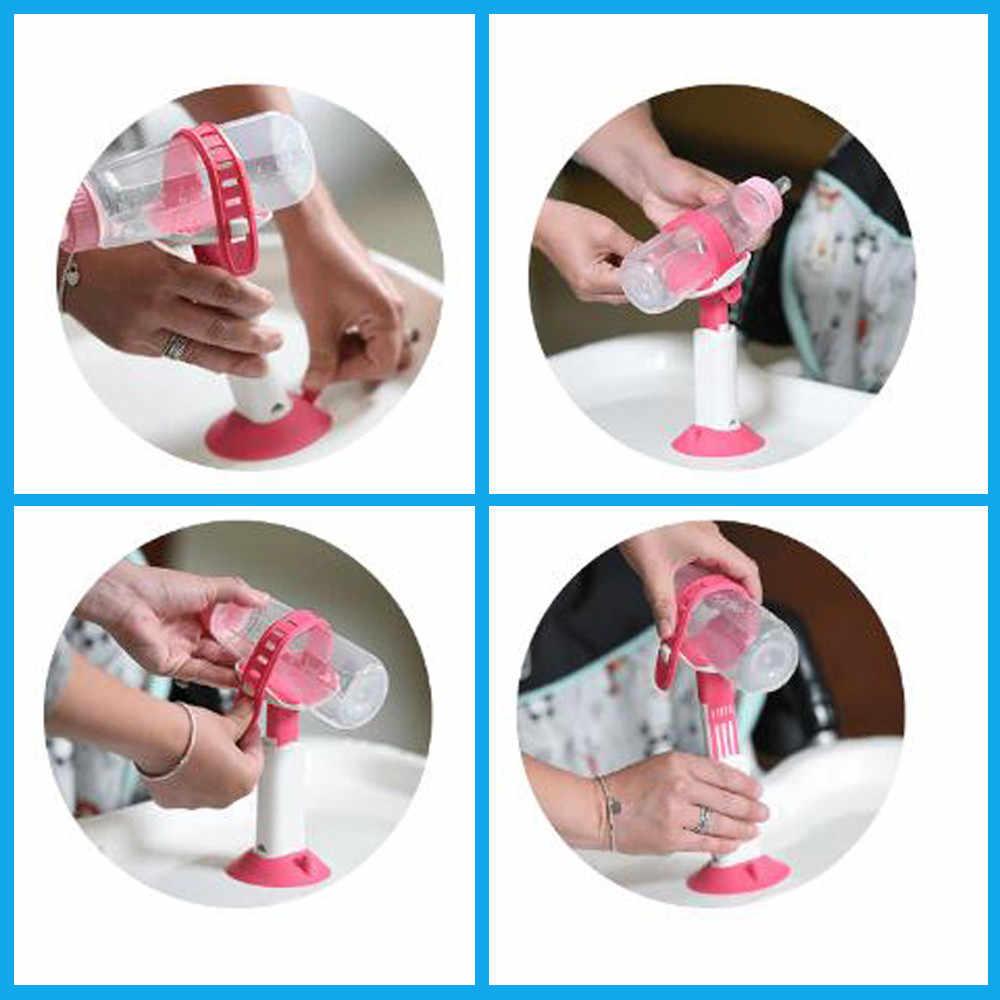 Suporte de garrafa de bebê ajustável antiderrapante com ventosa bebês suporte de garrafa mãos prateleiras de armazenamento de cozinha para cozinha