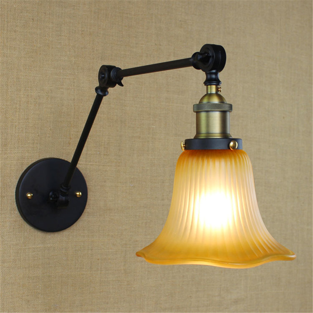 vintage Modern Adjustable wall lamp country style indoor lighting bedside lamp glass lamp shade light for home 110V/220V E27 modern wall lamp glass ball led wall sconces bedside wall light fixture bedroom luminaria home lighting vintage lamp