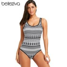 4adf0f5650d Belleziva Ethnic Print Padded One Piece Swimsuit Sexy Backless Swimwear  Women Bathing Suit Monokinis Beach Bodysuit