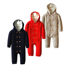 Baby Hooded Romper 0-18 Months Knitted Sweater Thick Cotton Solid Color Long Sleeve Autumn Winter Infant Boy Girl Baby Clothing